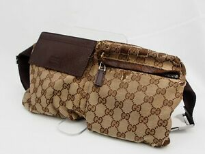 【Rank BC】GUCCI GG Pattern Canvas Brown Waist Pouch Body Bag From Japan A138