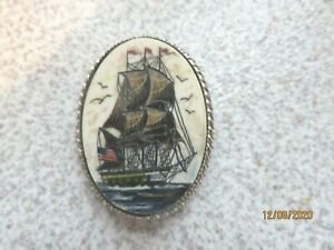 Sterling Silver Jewelry Pin /Brooch SEAHORSE + GALLEON SHIP