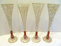 SET 4 Pier 1 RIOJA P1C8 Champagne FLUTES Toasting GOBLETS Ruby RED & GOLD