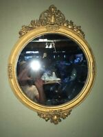 RARE ANTIQUE FEDERAL STYLE GOLD GESSO FINIALED AND EDGED MIRROR... VERY NICE!!