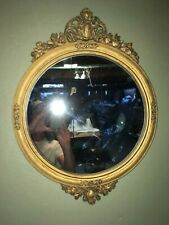 Rare Antique Federal Style Gold Gesso Finialed And Edged Mirror. Very Nice!