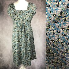 NOMADS Womens Tea Dress Grey Blue Yellow Floral Tie Back Fair Trade Size 12