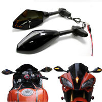 Motorcycle LED Arrow Turn Signal Rearview Side Mirrors For Yamaha YZF R1 YZF-R6