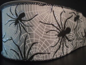 """Black Spider Web Silver Satin Wire Ribbon 2.5""""(2 LENGTHS)Halloween*Spooky*Scary*"""