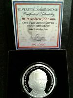 Andrew Johnson - 1 oz. PROOF .999 Silver Round MiniMintage Silver Shield