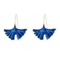 Earrings Chandelier Sheet Ginkgo Enamel Blue Retro CC11