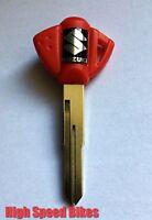 Suzuki GSX-R GSX Schlüssel K5K6K7K8 600 750 1000 Rohling mit Transponderfach Rot
