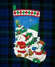 Tree Shopping Finished Santa Snowman Sequin Felt Embroidery Christmas Stocking