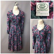 Vintage Laura Ashley Floral Retro Dress UK 12 EUR 38 US 10 Cotton Wool