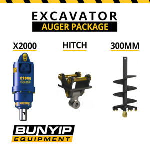 AUGER TORQUE EARTHDRILL X2000 + 300MM AUGER PACKAGE AUGER DRIVE EXCAVATOR