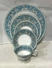 Wedgwood Florentine Turquoise 5 Pc Setting Dinner Plate Salad Cup Saucer No Med.