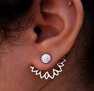 Silver Double-sided Mesh Jewellery Diamond studded Crystal Ear Jacket Earrings
