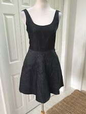 347775f426 Gap Dark Blue black Chambray Skater Dress Fitted Full Skirt Pockets 0 NWOT
