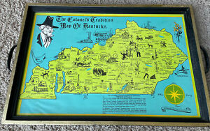 """Vintage The Colonel's Tradition Map of Kentucky Tray Marquette Anchorage 19""""x13"""""""