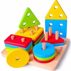 Jouet Bois Educatif Montessori Enfant Bebe Forme Couleur Empiler Compter 2 ans +