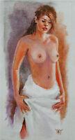 SOLD YARY DLUHOS Nude Female Figure Woman Girl Romance Original Oil Painting