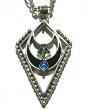 GEOMETRIC CRESCENT MOON PENDANT NECKLACE black silver shell blue gothic chain V1