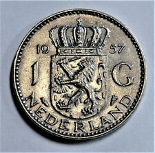 Niederlande - 1 Gulden 1957 SILBER - Königin Juliana - vz-st / xf-unc.