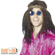 Hippie Diadema & Gafas Kit Mens Damas Vestido Elaborado Disfraz de 1960s 60s 70s Set