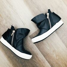 A.S. 98 Black Leather Zip Sneakers 38