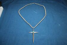 Sterling Bench Bead Necklace Large Vintage Cross on