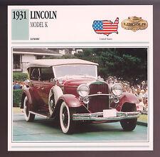 1931 Lincoln Model K Sports Phaeton Car Photo Spec Sheet Info Stat ATLAS CARD