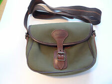 BARBOUR-   B500 BERWICK CARTRIDGE BAG-CANVAS WITH LEATHER TRIM-OLIVE