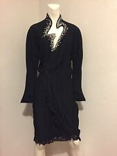 Rare Vintage Thierry Mugler Glass Crystal Comet Wrap Lace Trim Black Dress 38