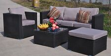 Rattan Garden Furniture 5 Seater Sofa Set Table Chairs Patio Conservatory Black