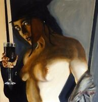 "NEW ORIGINAL PETE DAVIES  ""Winter Warmer"" Female wine girl nude OIL PAINTING"