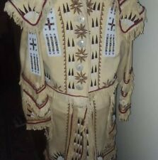 Native American Inspired Brain Tanned Leather Beaded Coat