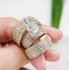 3Pcs/Set Vintage Gold Filled White Sapphire Ring Wedding Bridal Jewelry Size 8
