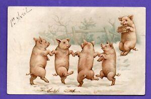 FRANCE April Fools' Day PIG VINTAGE POSTCARD USED 57