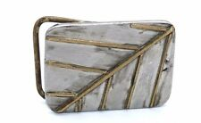 BIG & HEAVY Vtg SIGNED Modernist N.GUY Silver & Gold Tone HANDMADE Belt Buckle