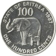 1997 State of Eritrea 100 cent Coin Elephant on Reverse Soldiers on Obverse
