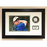 GOLF BALL DISPLAY CASE 3D FRAME FOR SIGNED GOLF BALL, PHOTO AND TITLE