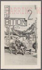 Vintage Photo Ma & Ma w/ Roadside Signs & Stringer of Sponges Florida 748124