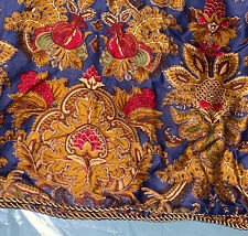 2 Lovely Ralph Lauren Gold Red Blue Jardiniere Floral King Shams Cord Border