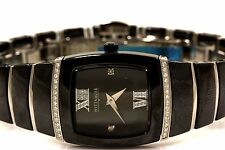 New! Wittnauer Ladies Black Ceramic & Stainless Steel DIAMOND Accent Watch 12R32