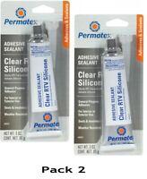 Permatex 80050 Clear RTV Silicone Adhesive Sealant 3 oz Tube - Pack of 2