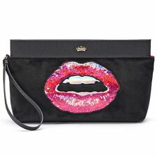 Juicy Couture Wristlet Velour Lips Clutch Designer Purse Tote Wallet Bag NWT -
