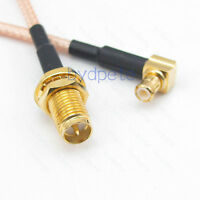 Reverse Polarity RP-SMA female to MCX male 90 degree RG316 Coax Pigtail RF cable