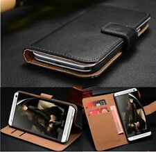 Luxury Genuine Real Leather Flip Wallet Cover & Screen Guard For HTC ONE M8S