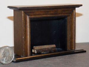 Dollhouse Miniature Fireplace Walnut 1:12 one inch scale Y41 Dollys Gallery