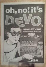 Devo Oh no it's  1982 press advert Full page 27 x 38 cm mini poster