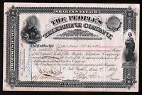 Peoples Telephone Company 1881 EX RARE Genuine Original  Stock Certificate