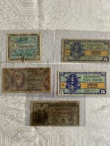 Lot Of 5 MILITARY PAYMENT CERTIFICATES 1800'S