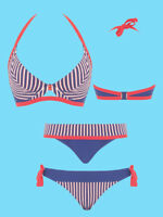 Curvy Kate Swimwear Ahoy Nautical Underwired Halterneck Bikini Top and Bottoms