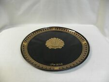 """Georges Briard Coquille d'Or Gold Black 13"""" Glass Chop Plate Round Platter Signe"""