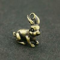 Antique Brass Rabbit Pendant Small Lucky Statue Old Chinese Zodiac Pocket Gift